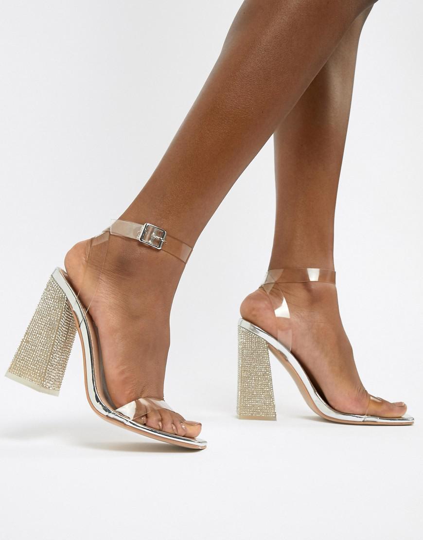 3c579f54f8e Public Desire. Women s Metallic Ayda Embellished Heel Clear Detail Sandals