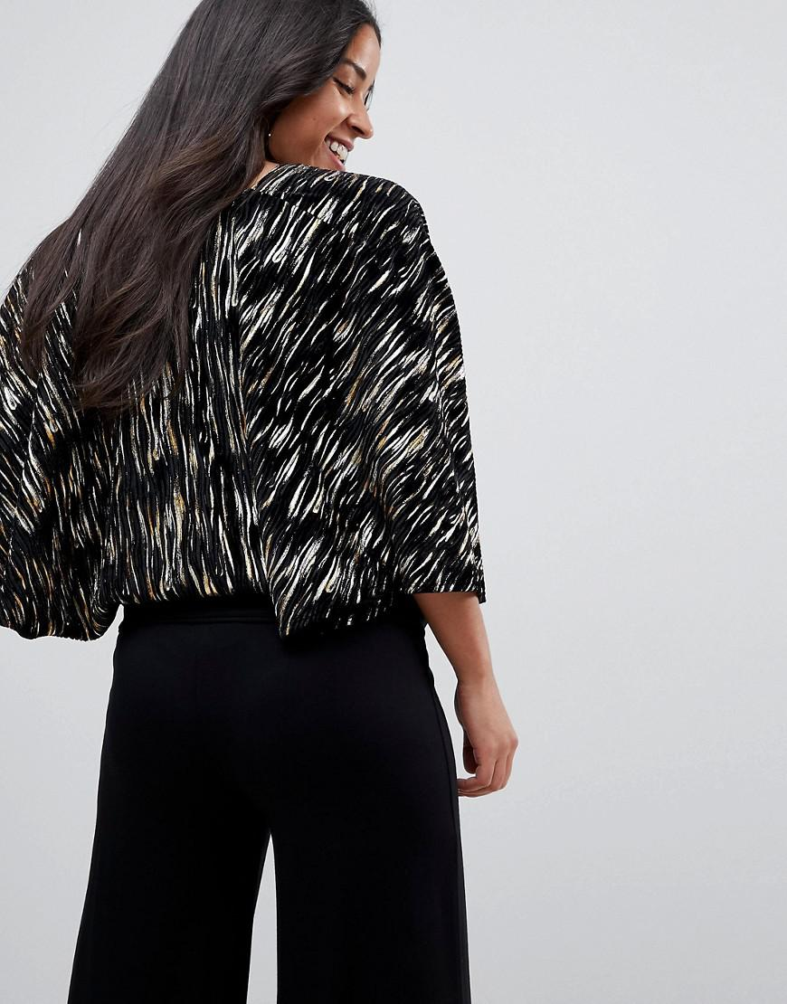 591377db8d4 Lyst - Flounce London Cape Top With Plunge Front In Crinkle Metallic Velvet  in Black