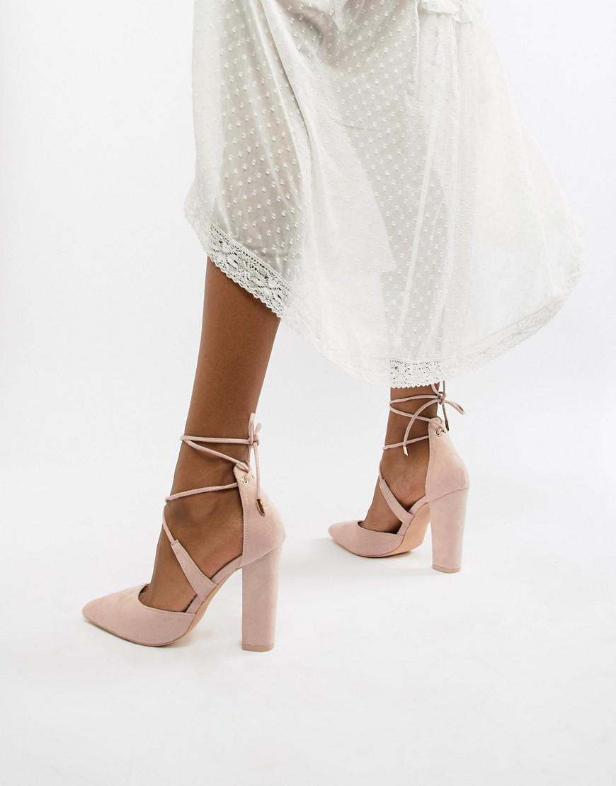 f03508d0bae Glamorous Block Heel Tie Up Court in Natural - Lyst