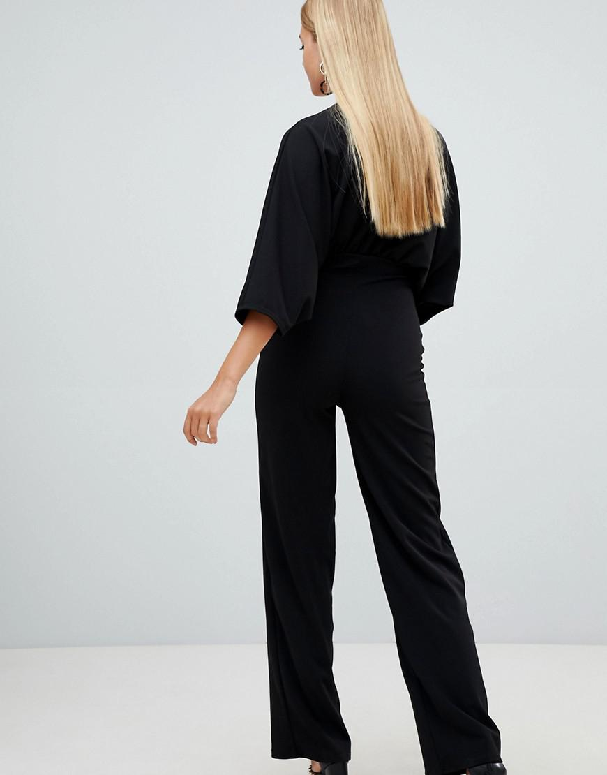 839df4eba5e0 Lyst - PrettyLittleThing Crepe Batwing Cut Out Jumpsuit in Black