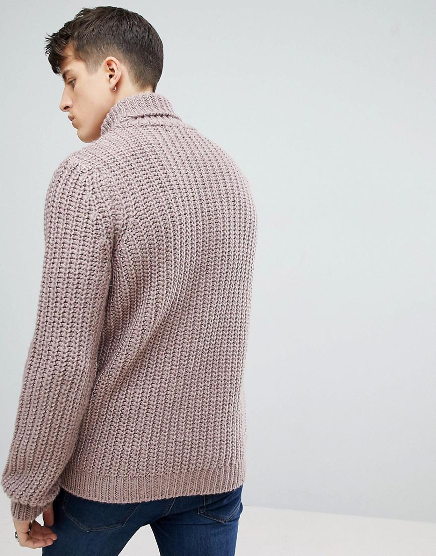 6868aed1ded393 ASOS Heavyweight Fisherman Rib Roll Neck Jumper In Faded Pink in ...