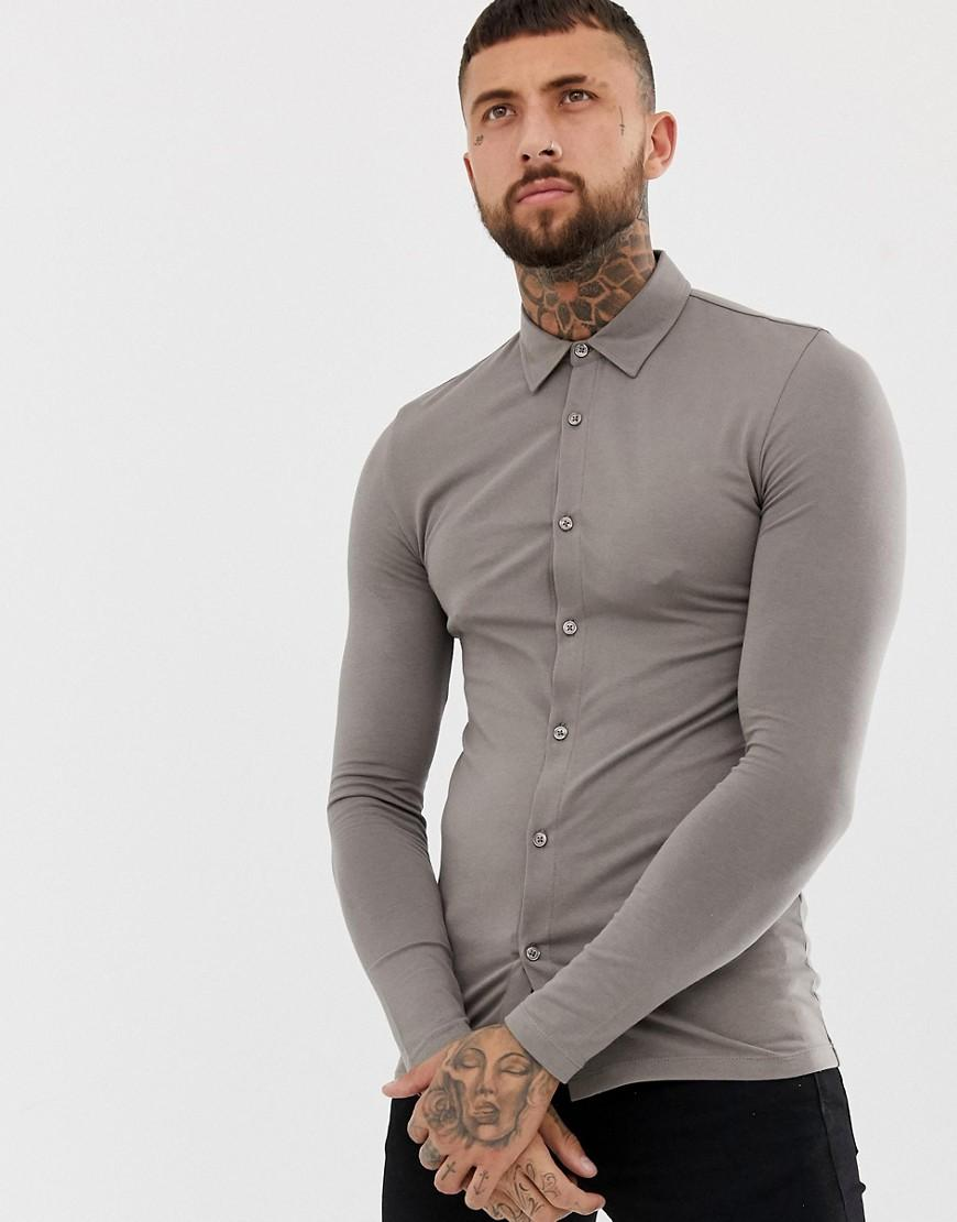 5de6ee0a Lyst - Asos Muscle Fit Button Through Jersey Polo In Beige in ...