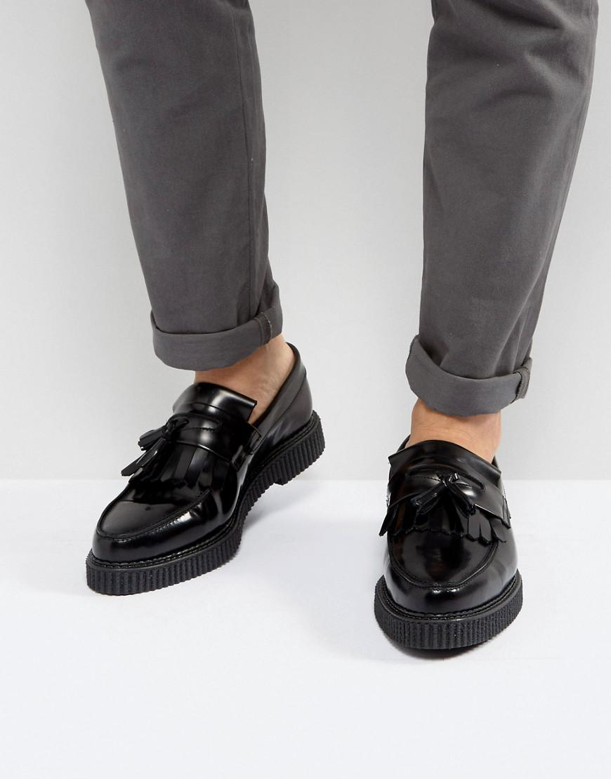 4cd57e3fb9a Lyst - ASOS Loafers In Black Leather With Creeper Sole in Black for Men