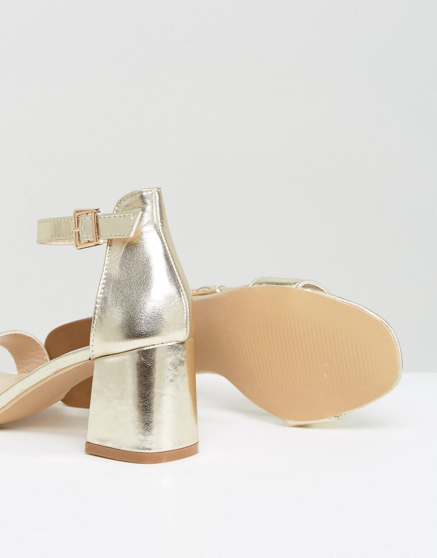 13b1db0d611 Glamorous Gold Block Mid Heeled Sandals in Metallic - Lyst