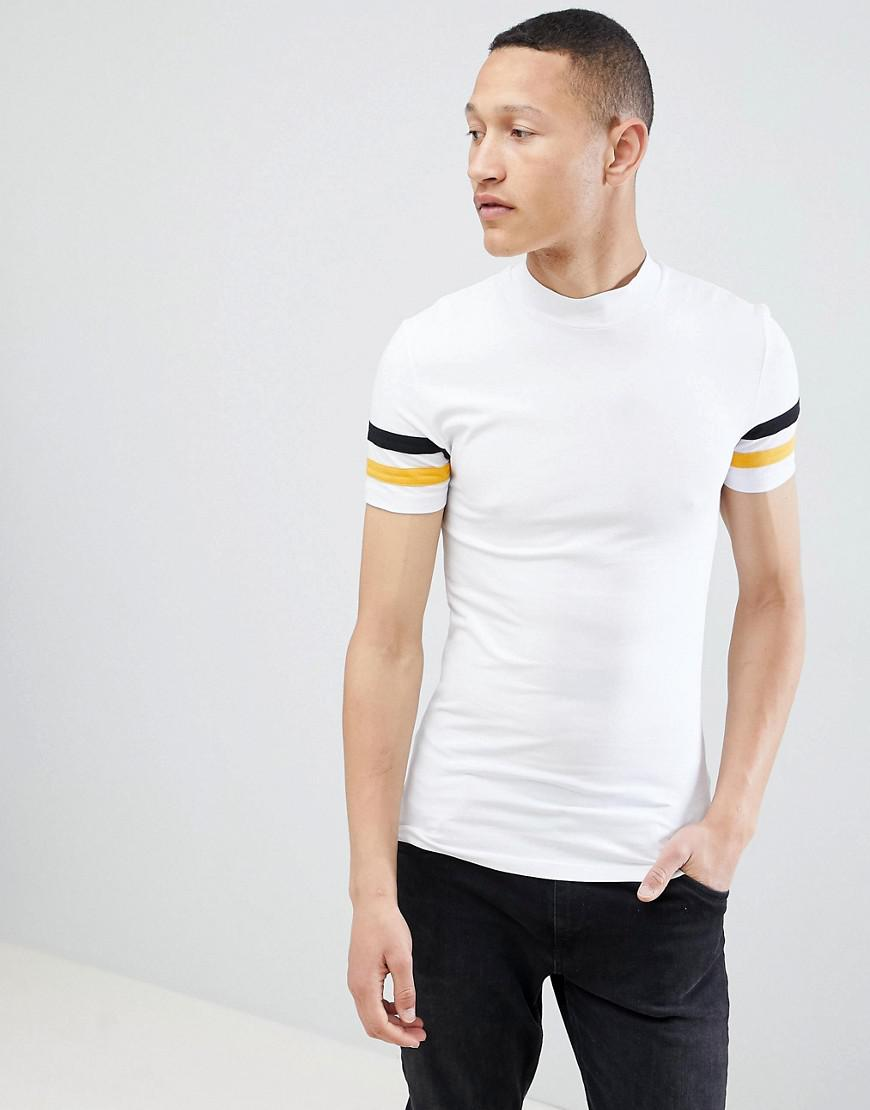 DESIGN muscle fit turtle neck t-shirt with zip and contrast panels - White Asos Huge Surprise Online Clearance Cheap Price 2018 New Cheap Online Free Shipping Wiki xRXpqn0mpk