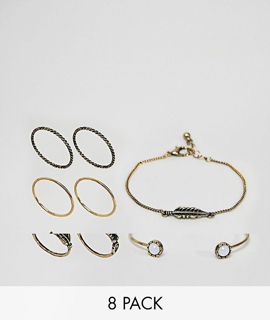 Asos DESIGN Pack Of 8 Engraved Stone And Feather Bracelets And Rings - Gold LkDN6