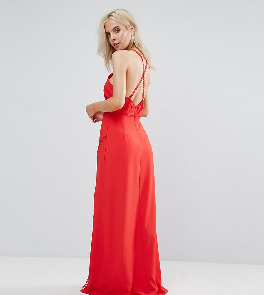 07376f9425f90 Boohoo Crochet Cross Back Maxi Dress in Red - Lyst