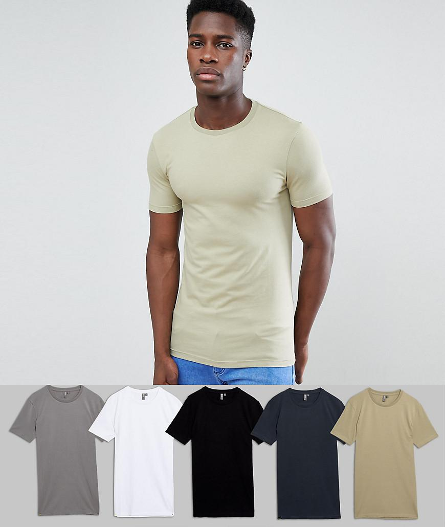 ASOS. Men's Muscle Fit T-shirt With Crew Neck 5 Pack Save