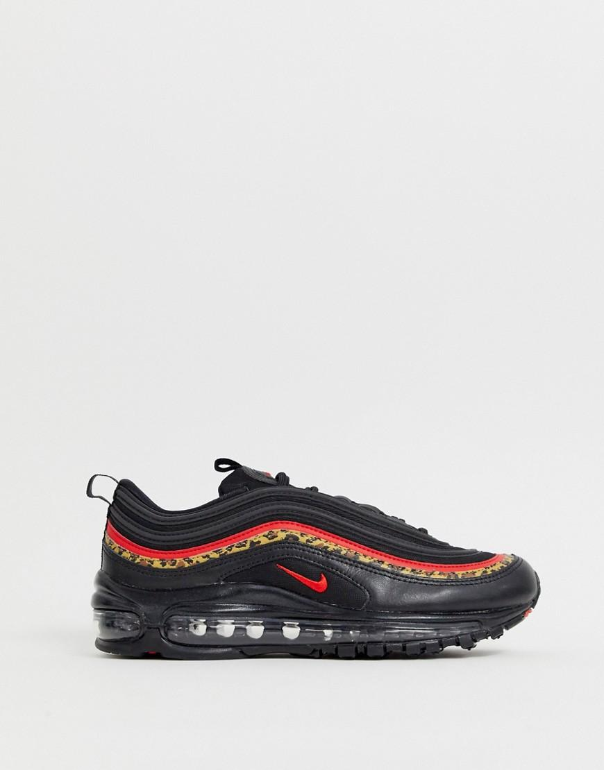 half off 1e73c d2f9f Nike. Womens Air Max 97 Trainers In Black And Leopard