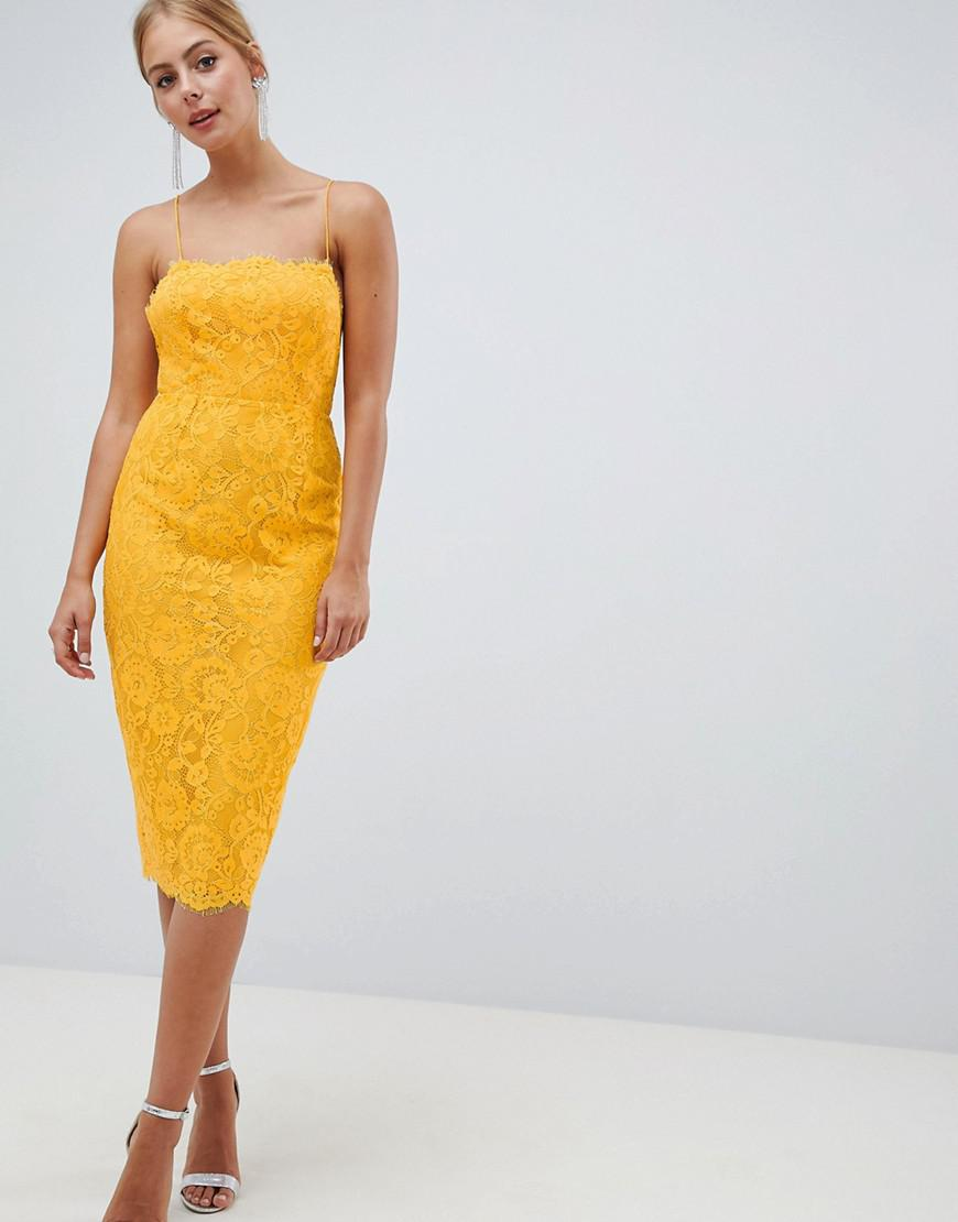 6fc75e5ff1 Asos Square Neck Pencil Dress In Lace in Yellow - Lyst