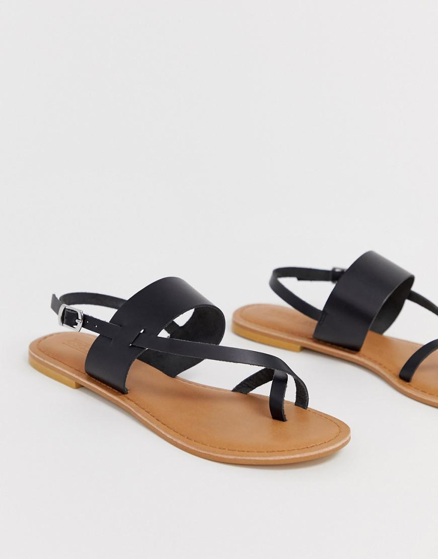 85d209a78272 Lyst - Asos Flisse Leather Flat Sandals in Black