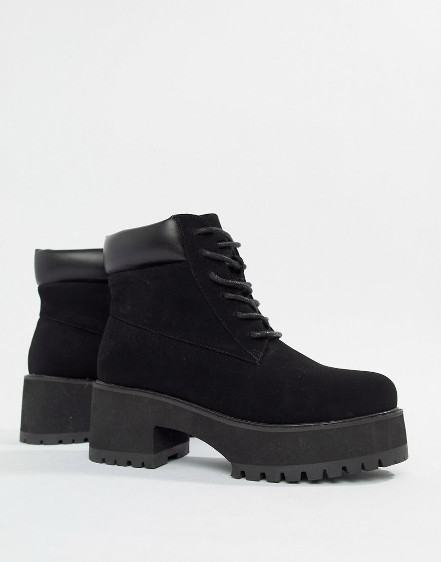 d34ff74a835 ASOS Wide Fit Bianca Chunky Lace Up Boots in Black - Lyst