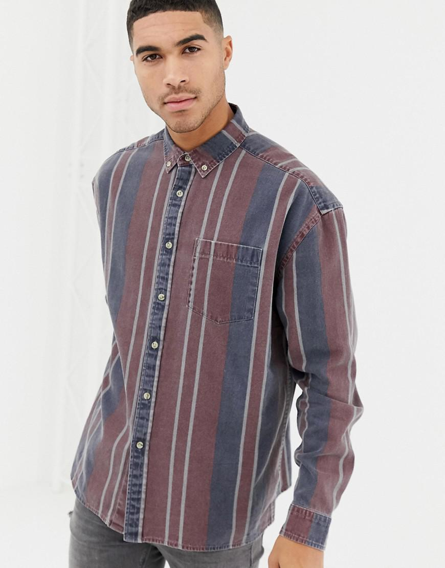 a6d872a1c9 Lyst - ASOS Oversized 90 s Style Denim Stripe Shirt in Red for Men