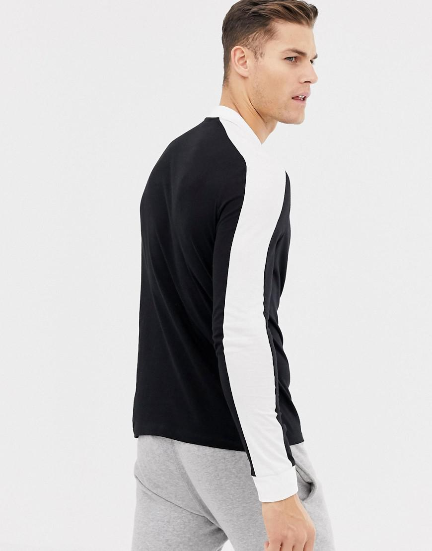 4948d501 Asos Long Sleeve Polo Shirt With Contrast Shoulder Panel In Black in Black  for Men - Lyst