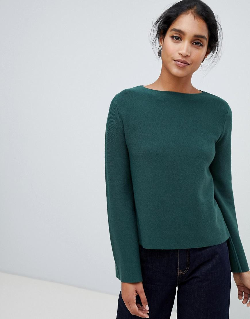 e058eb045eee Lyst - Oasis Bell Sleeve Compact Knitted Jumper In Green in Brown