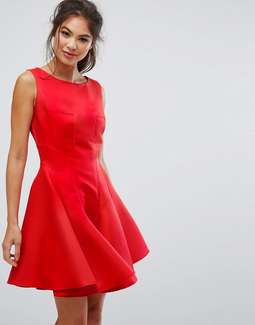 Fit and Flare Mini Dress with Seam Detail - Red Chi Chi London MEfQK