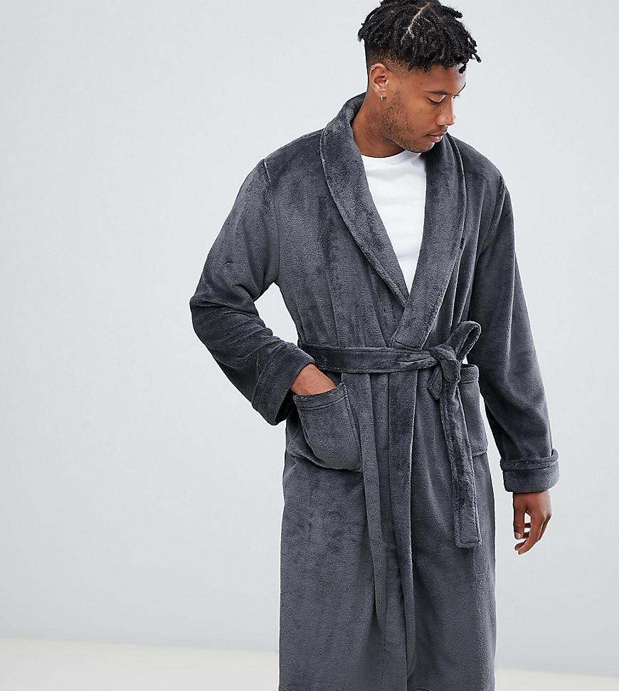 French Connection - Gray Tall Fleece Dressing Gown for Men - Lyst. View  fullscreen 1e49f4ae8