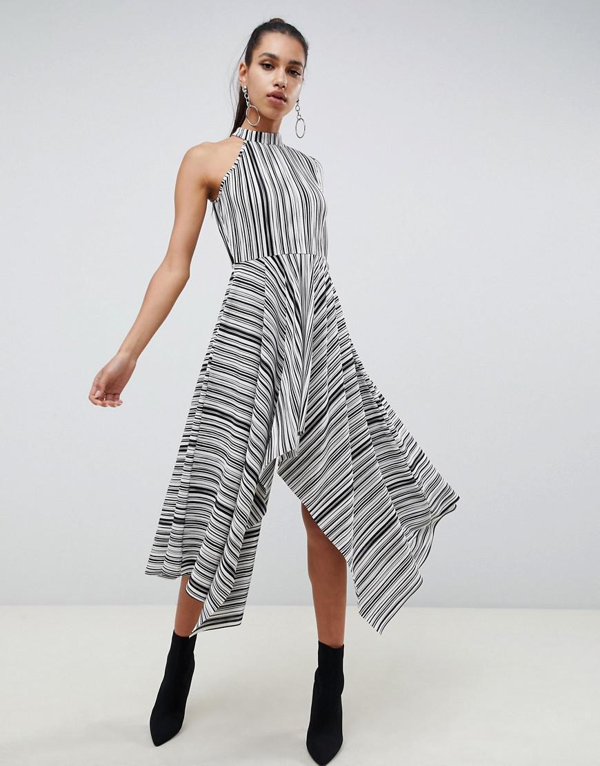 644e2641d22 Lyst - ASOS Asymmetric One Shoulder Plisse Dress In Mono Stripe