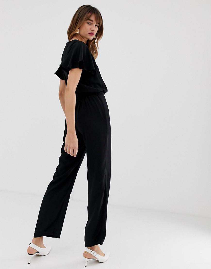 dad9255538 Lyst - Vero Moda Aware Angel Sleeve Jumpsuit in Black