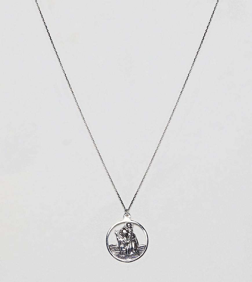 DESIGN sterling silver vintage style st. christopher cut out pendant necklace - Silver Asos 2Uk9l