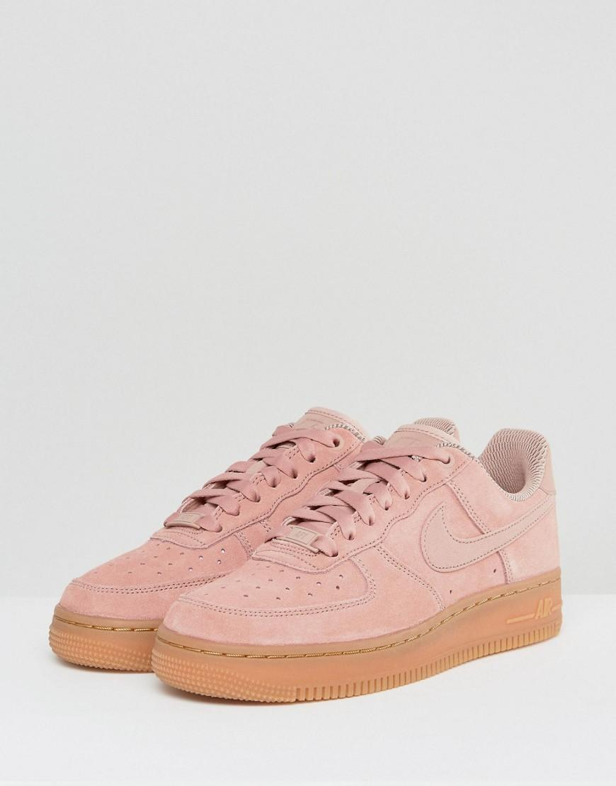 30310afaf23242 Nike Air Force 1  07 Trainers In Particle Pink Suede With Gum Sole ...