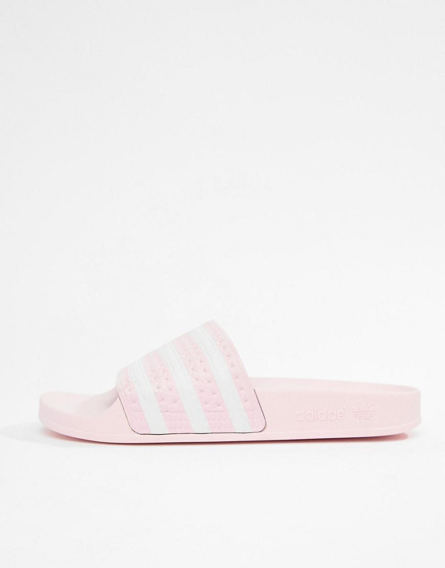 877bf25b2e7c adidas Originals Adilette Slider Sandals In Pink in Pink - Lyst
