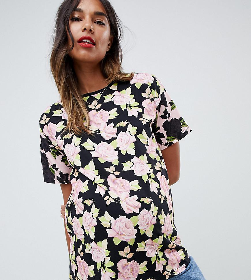 Asos asos design maternity t shirt in mixed floral print for Asos design free t shirt