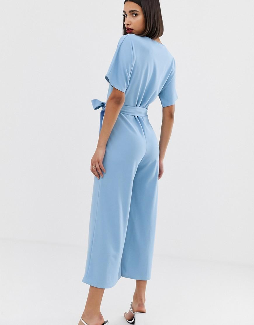 8d53dc986c72 PrettyLittleThing Culotte Jumpsuit With Kimono Sleeve In Light Blue in Blue  - Lyst