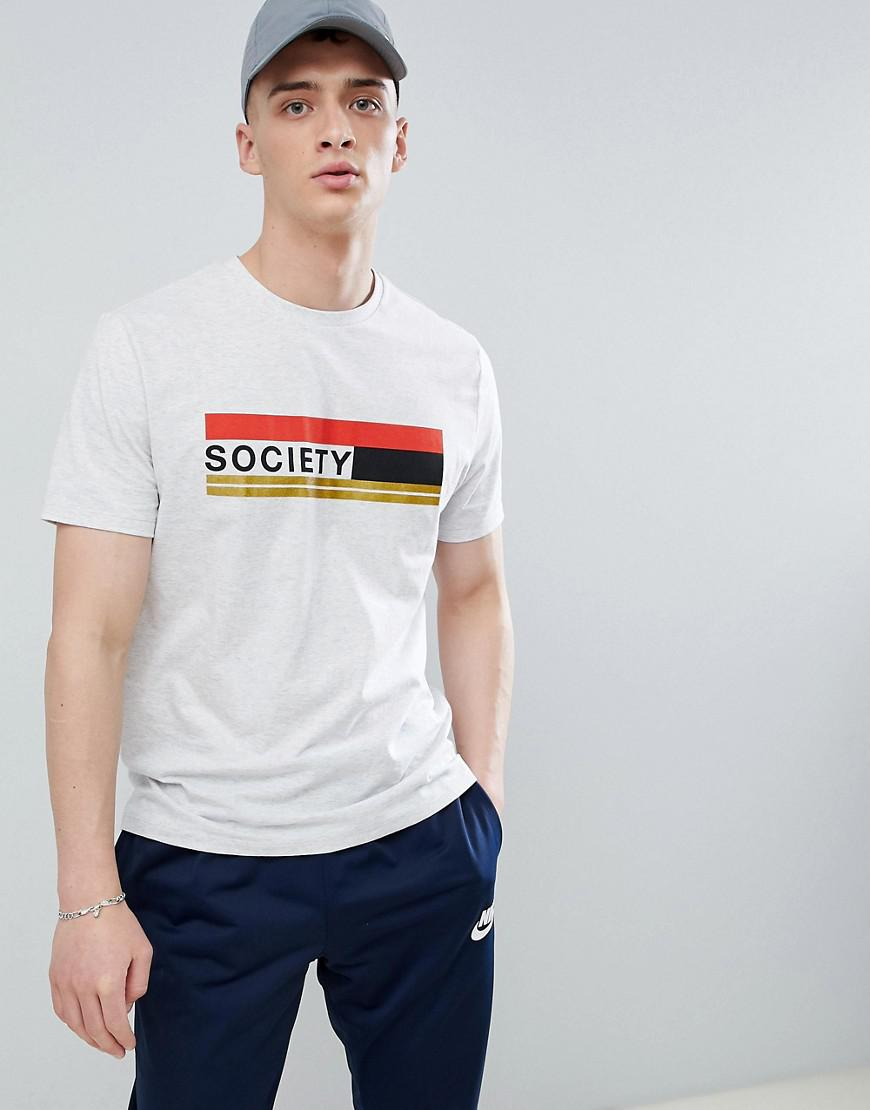 Asos design relaxed t shirt with society glitter text for Asos design free t shirt