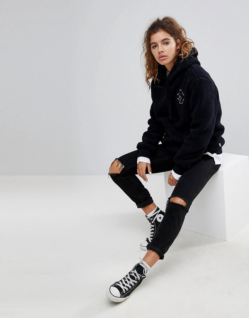 80b01b6905a Lyst - Converse Cons Skate Sherpa Hoodie With Back Logo in Black