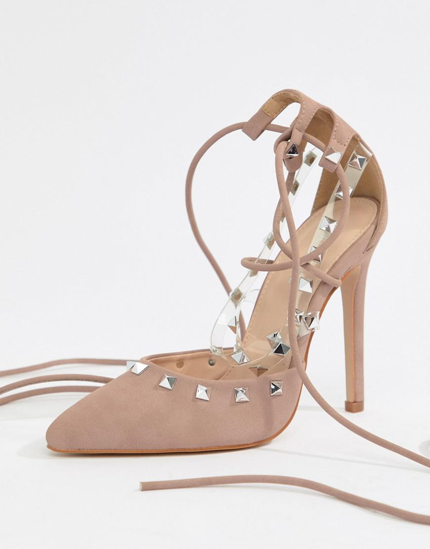 1032ad2f1c29 Lyst - Public Desire Gosh Blush Studded Heeled Shoes in Natural