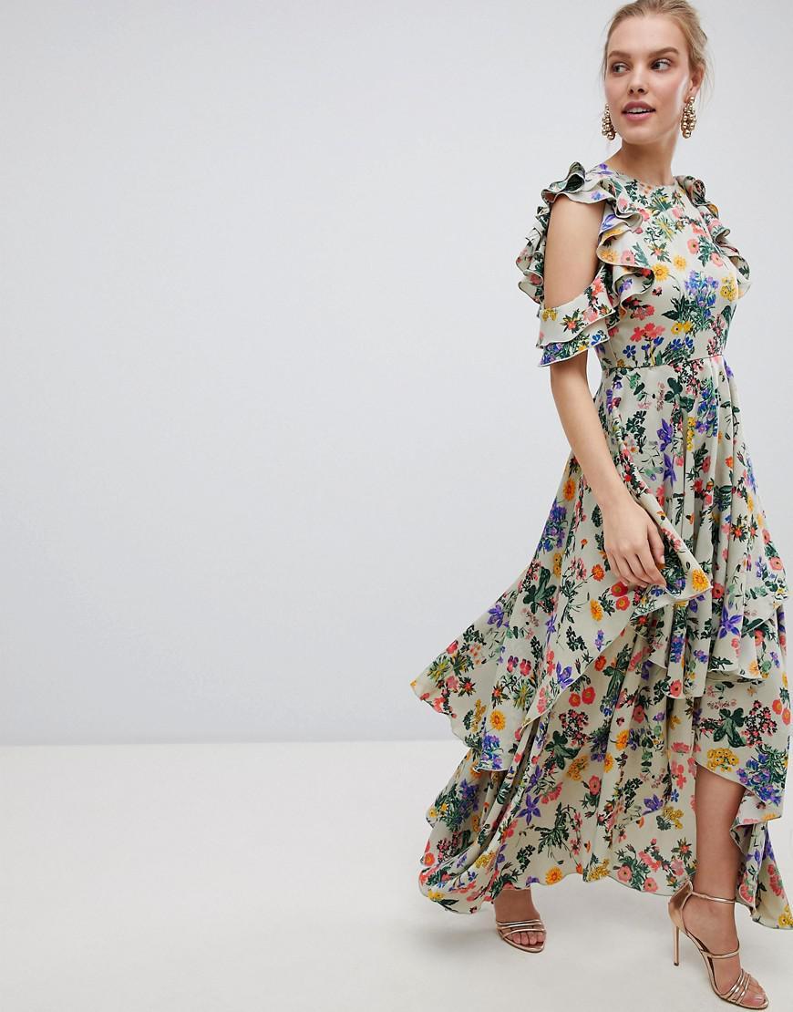 f47ce72f9d ASOS Floral Print Satin Ruffle Sleeve Maxi Dress With Dipped Hem - Lyst