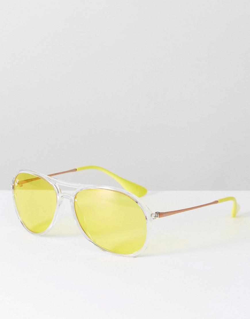 283f72dc17 Ray-Ban Ray Ban Clear Frame Aviator With Yellow Lens in Yellow - Lyst