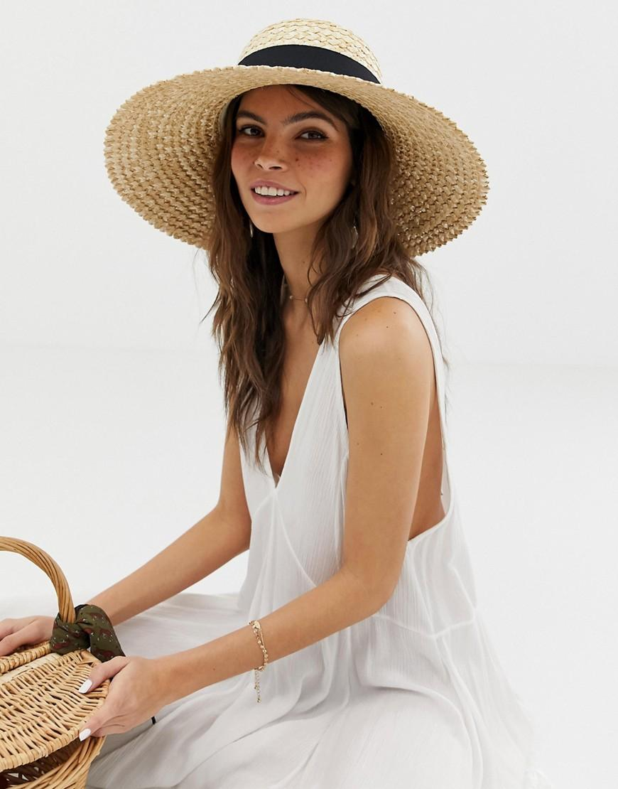 14a2e1bcb81 Lyst - Asos Curve Crown Flat Brim Straw Hat in Brown