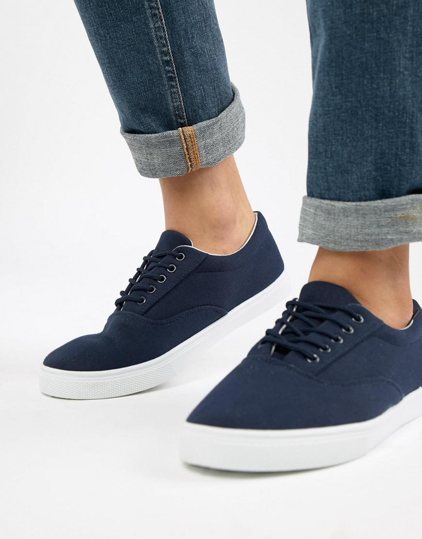 Canvas Lace Up Plimsoll In Navy - Navy New Look Buy Cheap Discounts cw8lFH