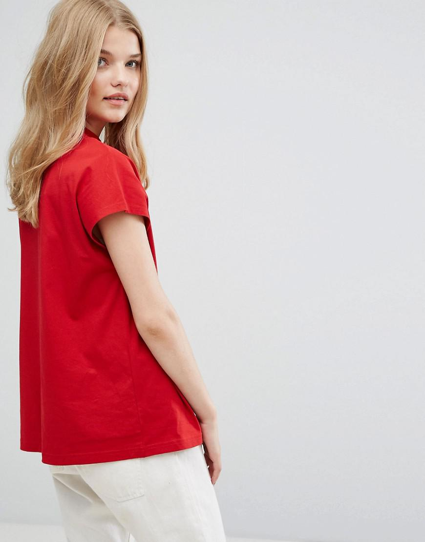 11e2fbbbfa959c Weekday High Neck T-shirt In Organic Cotton in Red - Save 6% - Lyst