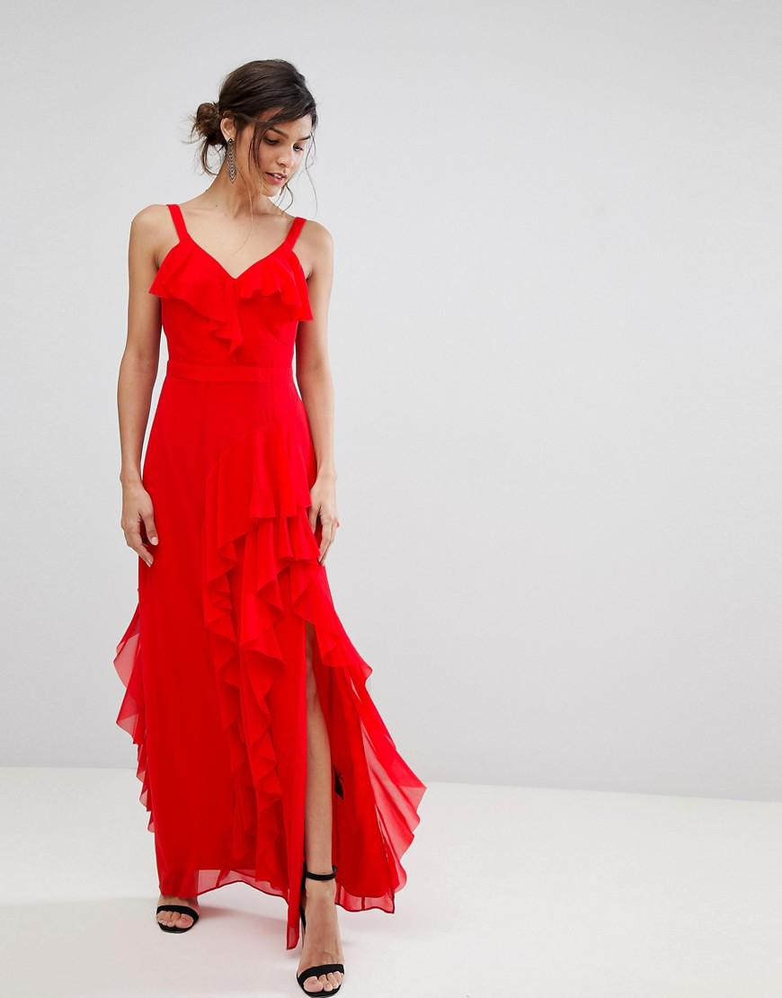 66f7ba93aa5 Coast - Red Illy Ruffle Maxi Dress - Lyst. View fullscreen