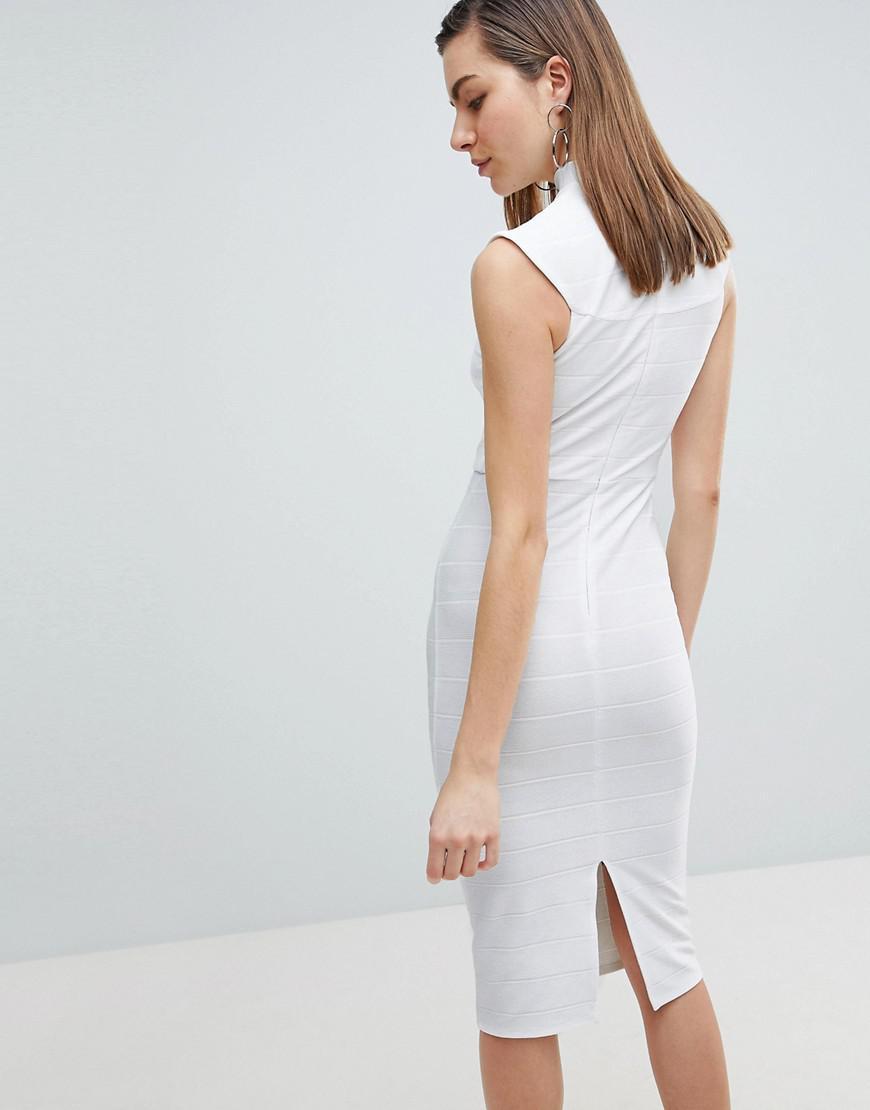 88e7c85b4306 Lyst - ASOS Asos High Neck Bandage Bodycon Midi Dress in White