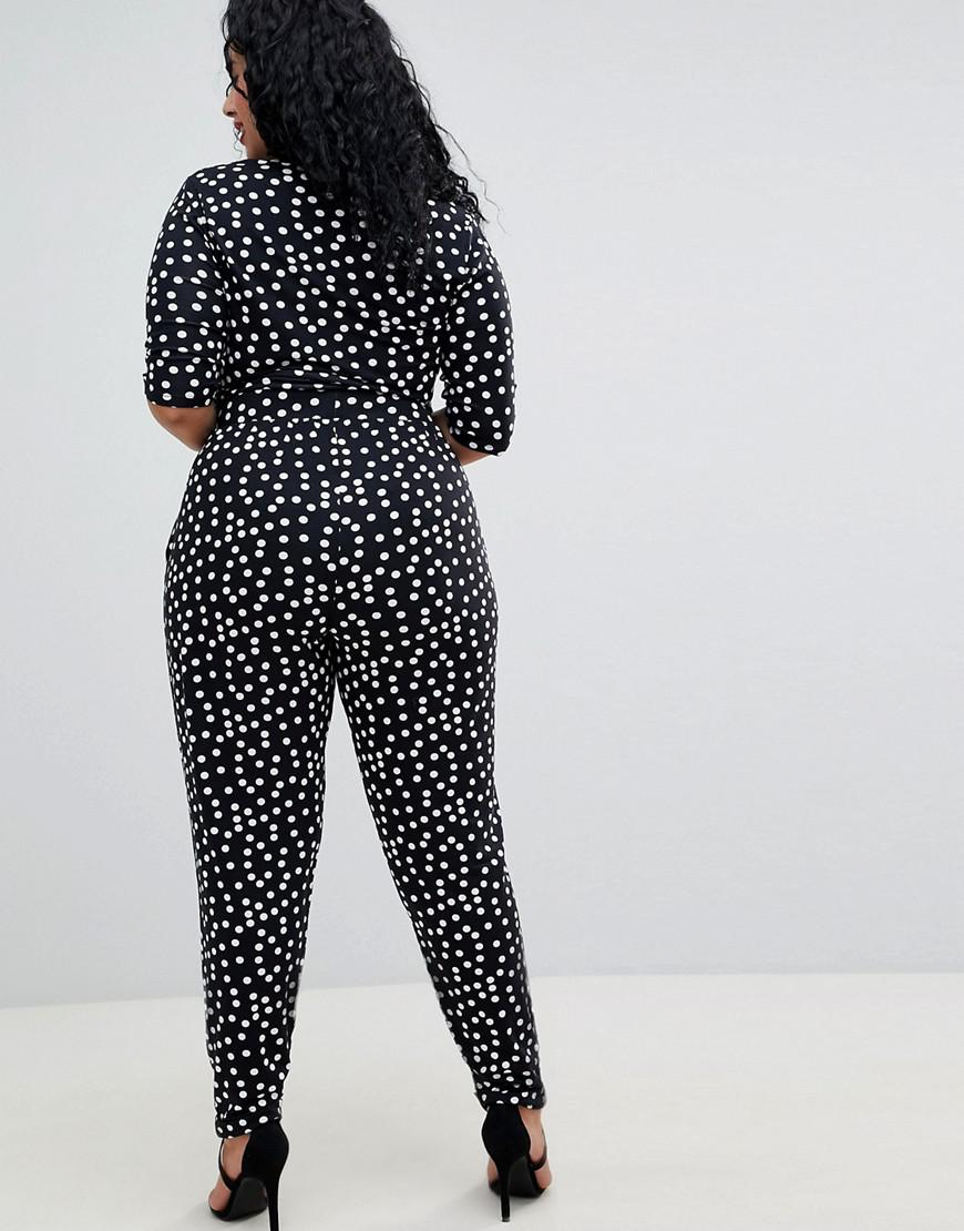 b79432fd0db3 Lyst - ASOS Asos Design Curve Wrap Jumpsuit With 3 4 Sleeve In Spot in Black