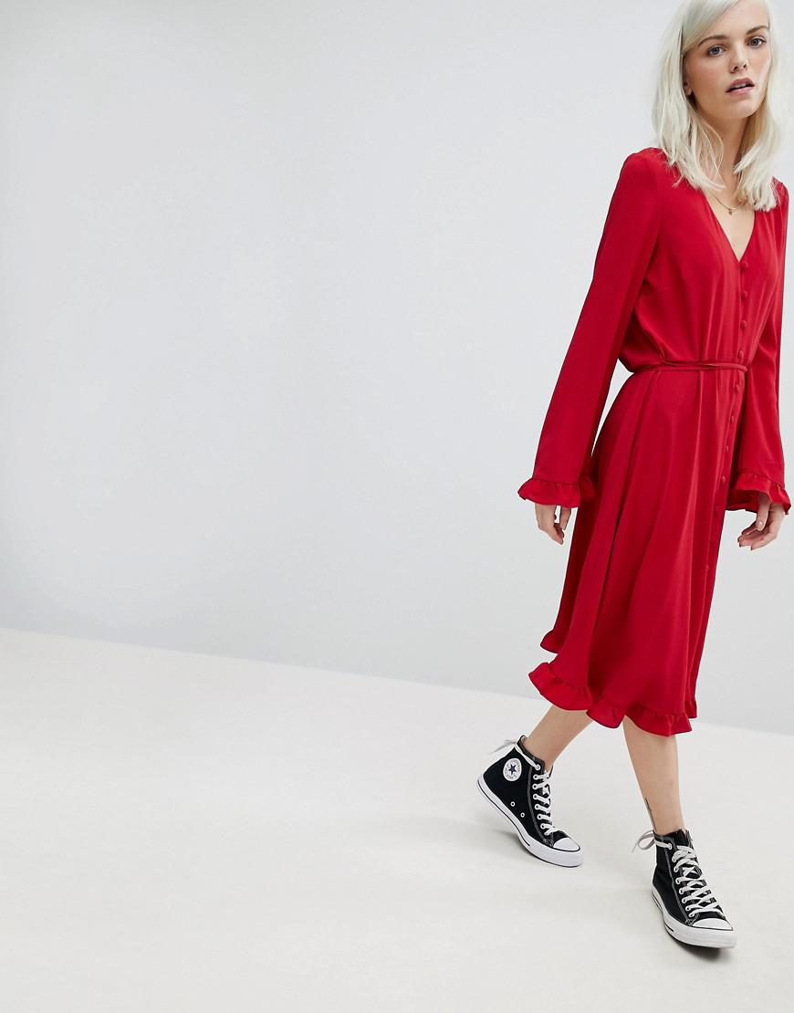V Neck Button Through Midi Swing Dress - Red Asos Manchester Great Sale Sale Online Shopping ZVdWG