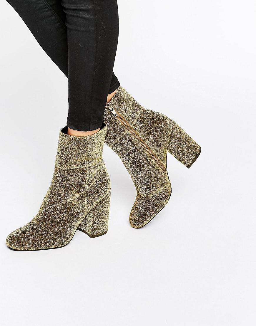 02f46eba9cc Steve Madden Goldie Gold Sock Heeled Ankle Boots in Metallic - Lyst