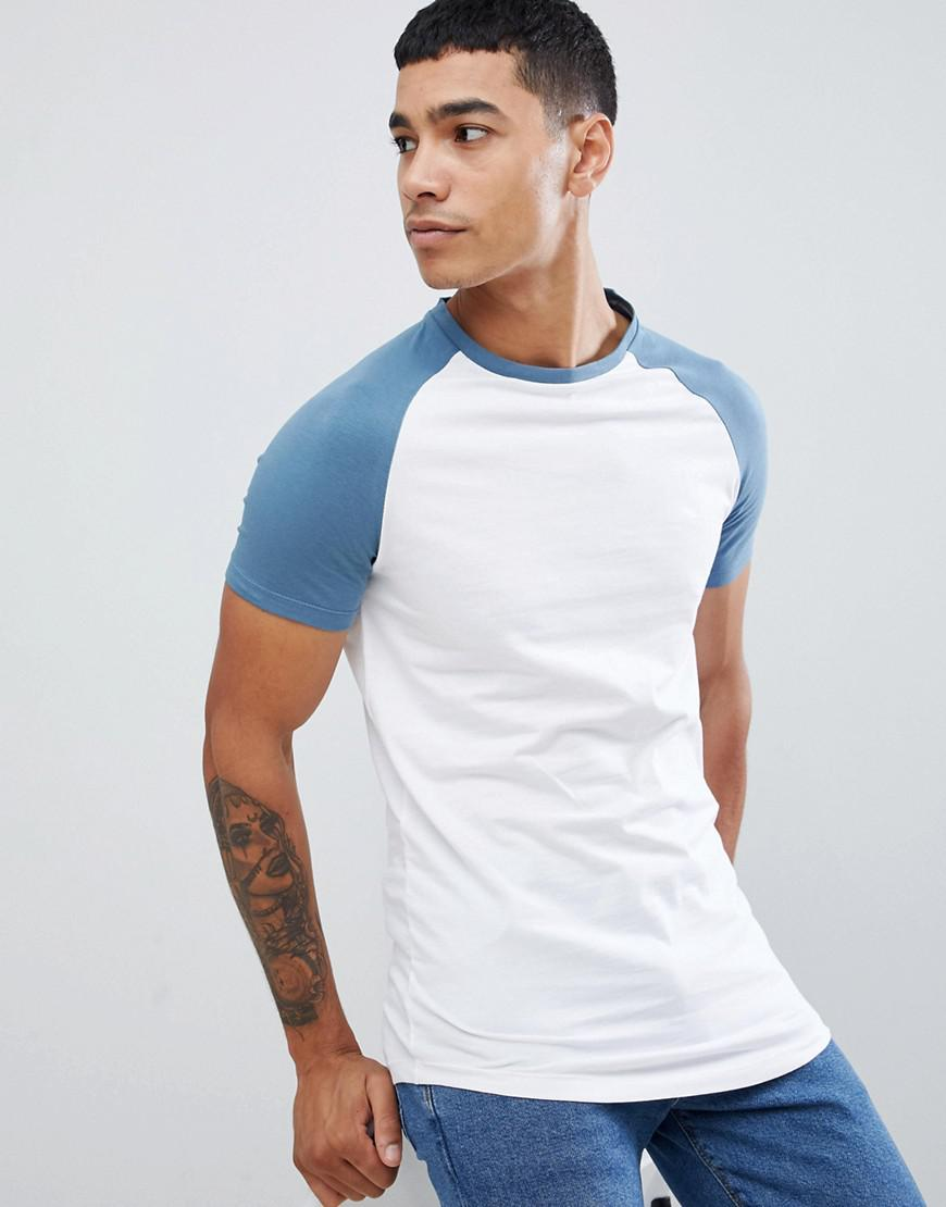 e99fc517 ASOS Longline Muscle Fit Raglan T-shirt With Contrast Sleeves With ...