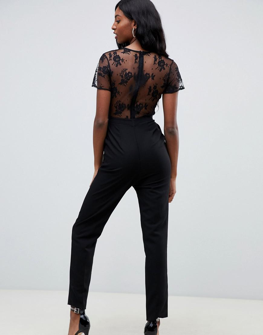 af08a52ff885 Lyst - ASOS Asos Design Tall Jumpsuit With Lace Detail   Tapered Leg in  Black