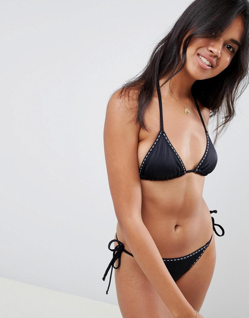 03833800f5df1 Lyst - Asos Recycled Mix And Match Weave Stitch Trim Triangle Bikini ...