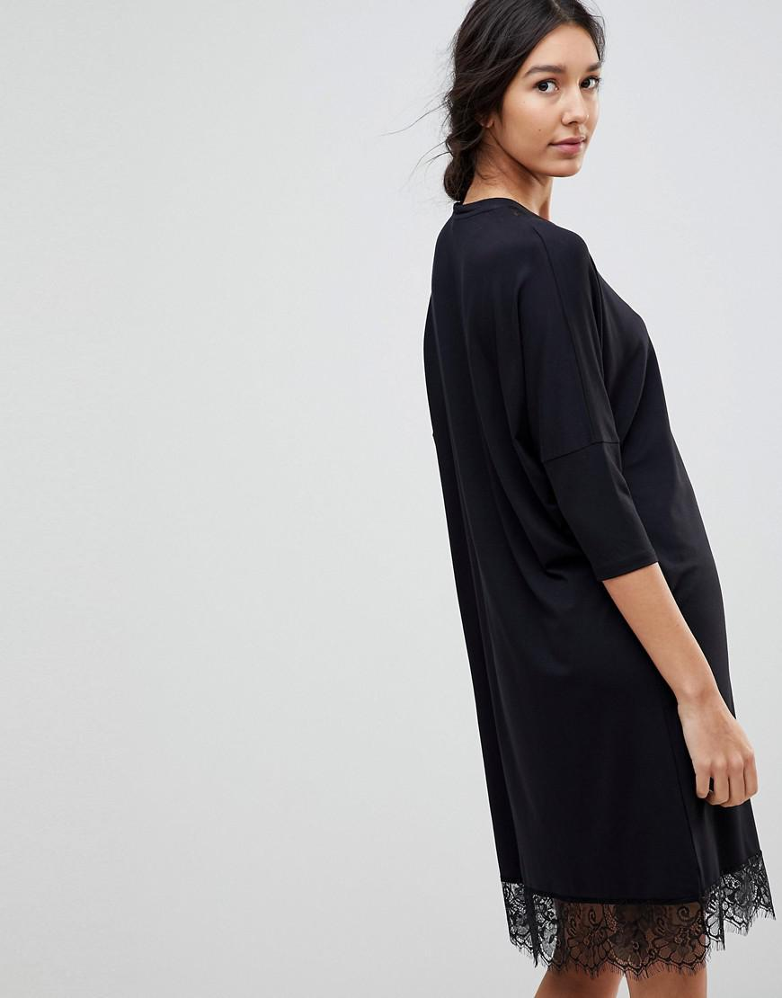0101d61281e12 ASOS Oversize T-shirt Dress With Batwing Sleeve And Lace Inserts in ...