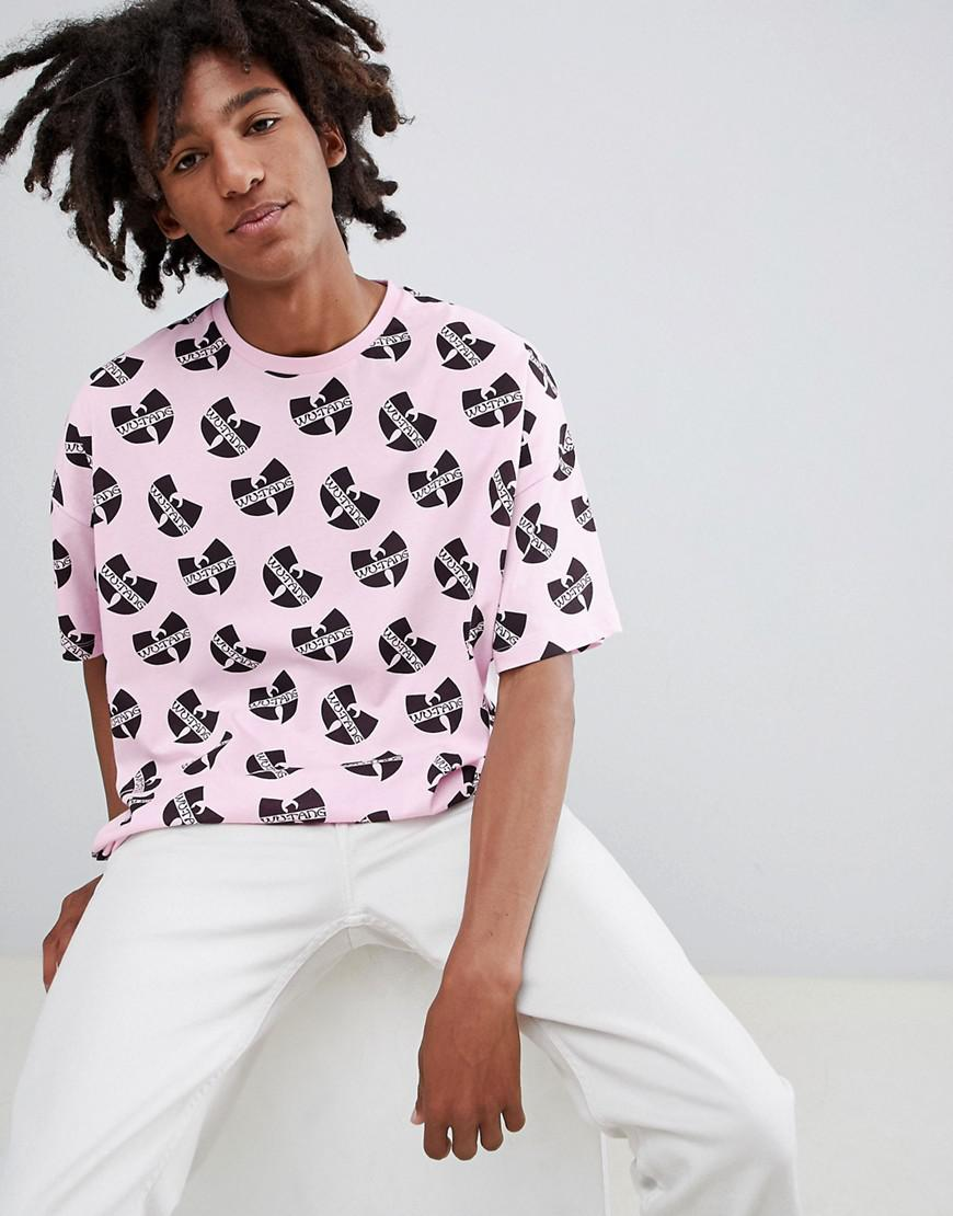 Asos Design Wu Tang Oversized T Shirt With All Over Print