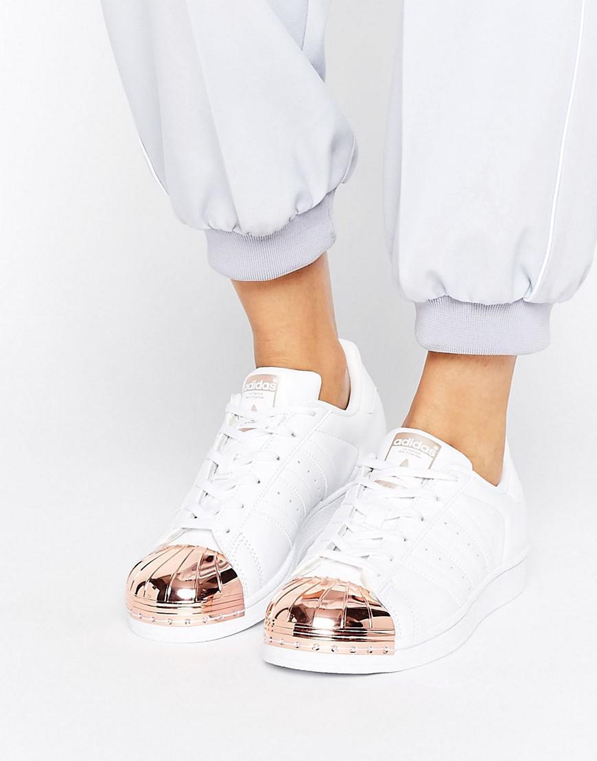 1c28d7fc18 Lyst - adidas Originals Originals White Superstar Sneakers With Rose ...