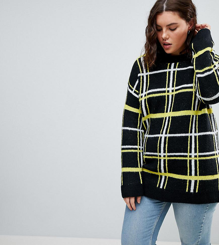 Jumper in Check with Badges - Yellow Asos Good Selling Cheap Online Big Discount wYMR6U6FL