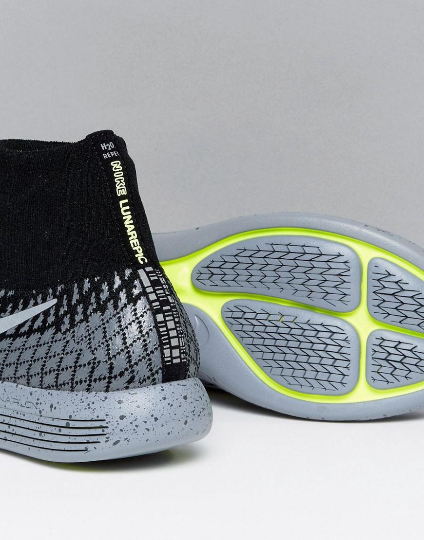 107d751130fcd Nike Lunar Epic Flyknit Shield Trainers In Black 849664-001 in Black ...