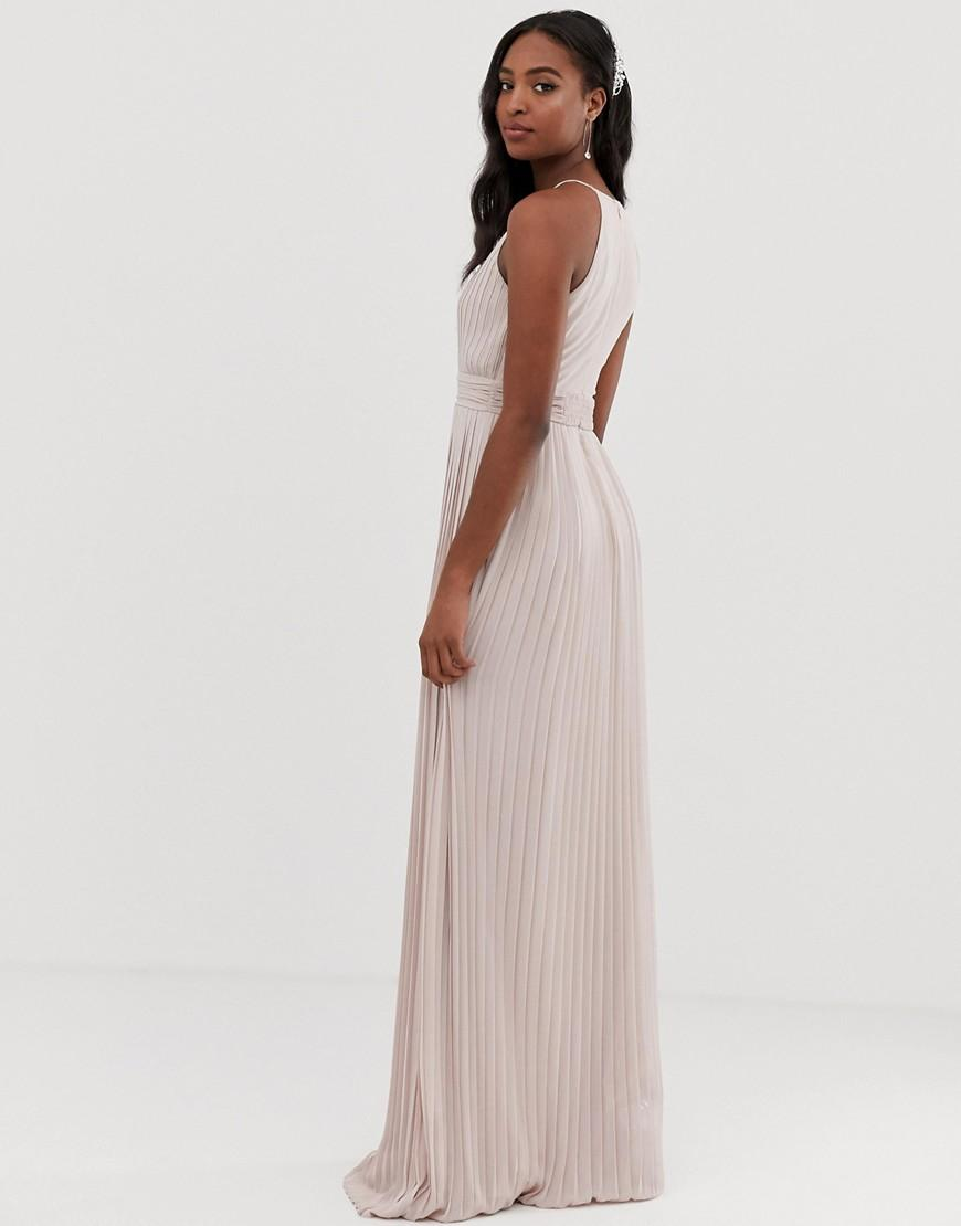 3c032622d7d5 Lyst - TFNC London Bridesmaid Exclusive High Neck Pleated Maxi Dress In  Taupe in Brown
